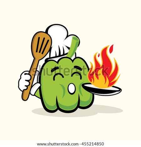 Cute Chef Green Paprika With Hot Fire