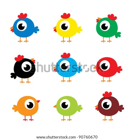 cute chicken and bird collection - stock vector