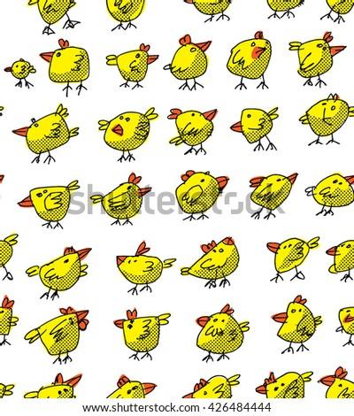 cute chicken background - seamless cartoon - stock vector