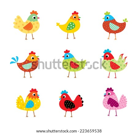 cute chicken vector - stock vector