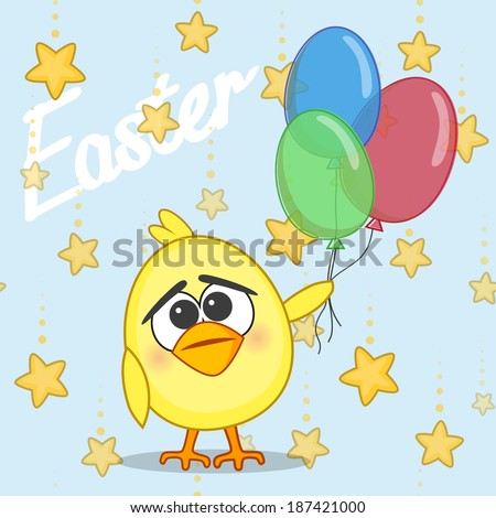 Cute chicken with balloons on a stars background - stock vector