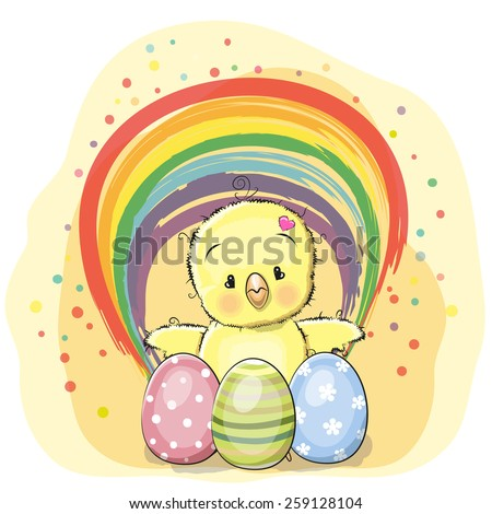 Cute chicken with eggs and a rainbow - stock vector
