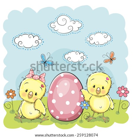 Cute chickens with egg on the meadow - stock vector