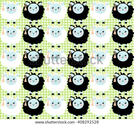 Cute child seamless pattern with pretty sheeps and clouds. Pink girl baby funny pattern