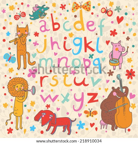Cute childish alphabet with animals in funny style. Funny cartoon illustration in vector with all english handwritten letters. - stock vector