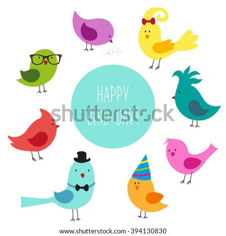 Cute childish Bird Day card with funny cartoon characters of birds and hand written text - stock vector