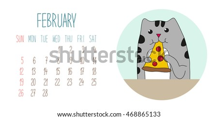 Cute childish 2017 calendar page with funny hand drawn cartoon character of cat and food
