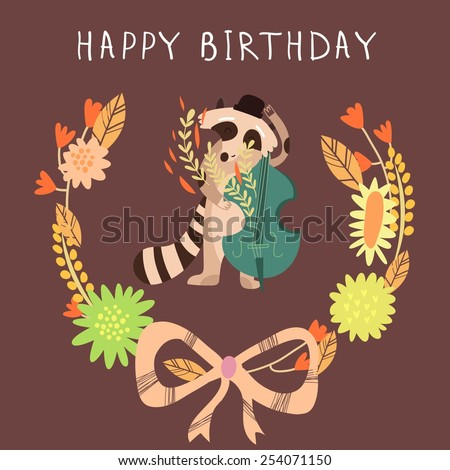 Cute childish card with Raccoon in vector. Happy birthday invitation background in bright colors - stock vector