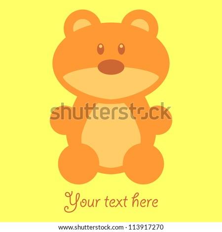 Cute childish card with teddy bear - stock vector