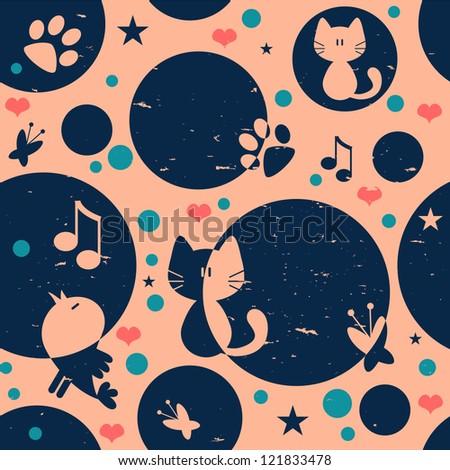 Cute childish seamless pattern design - stock vector
