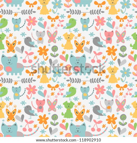 Cute childish seamless pattern with baby animals - stock vector