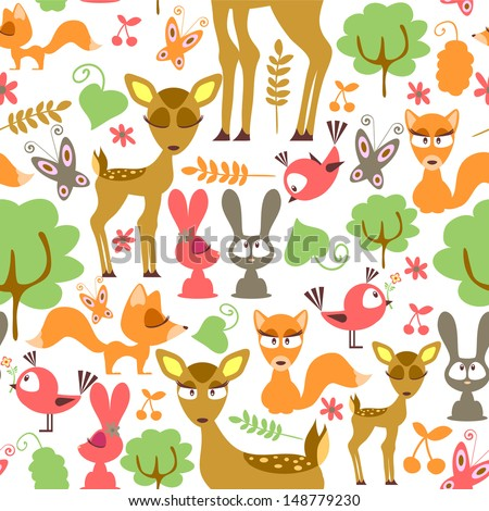 Cute childish seamless pattern with wild animals - stock vector
