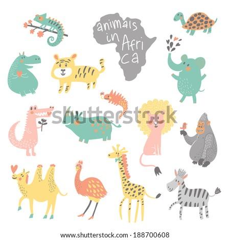 Cute childish set. African animals: iguana, turtle, elephant, tiger, hippopotamus, crocodile, rhinoceros, lion, gorilla, camel, ostrich, giraffe, zebra in vector. Funny cartoon animals - stock vector