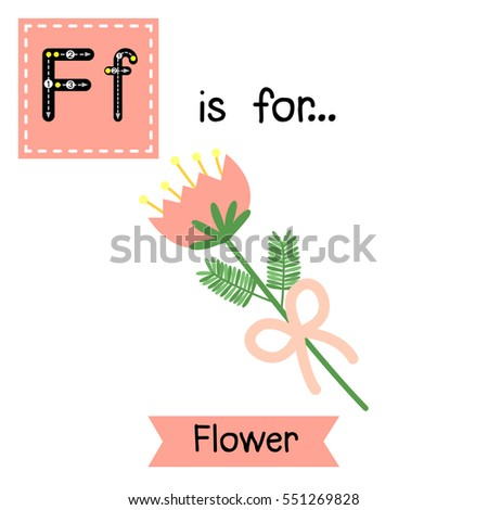 Cute children ABC alphabet F letter tracing flashcard of Flower for kids learning English vocabulary in Valentines Day theme.