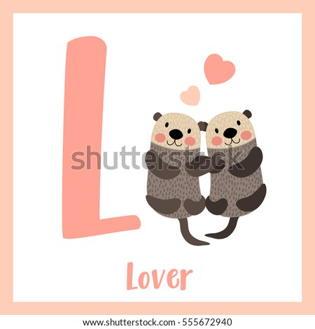 Cute children ABC alphabet L letter flashcard of Lover for kids learning English vocabulary in Valentines Day theme.