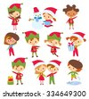 cute children and Santa elves - stock vector