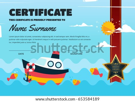 Cute children certificate achievement appreciation template stock cute children certificate of achievement and appreciation template fishing theme certificate yelopaper Choice Image