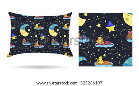 Cute children Decorative pillow with patterned pillowcase in cartoon style children are sleeping on the clouds