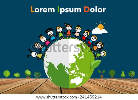 Cute children on Green Eco Earth. Vector Illustration. - stock vector