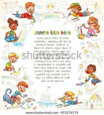 Cute children paint together the big picture. Scribble shapes. Playground. Template for advertising brochure. Ready for your message. Space for text. Funny cartoon character. Vector illustration