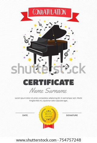 Cute children piano class certificate achievement stock vector cute children piano class certificate of achievement and appreciation template yelopaper Images