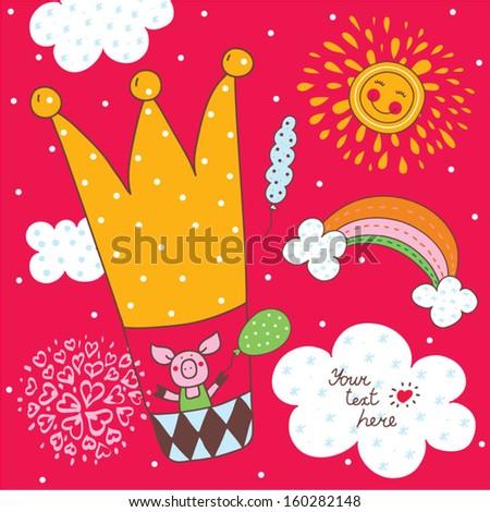 Cute children postcard. Pig flying on an air balloon. Vector. - stock vector
