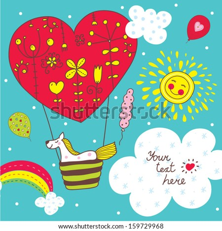 Cute children vector postcard with a horse/ - stock vector
