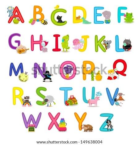 Cute childrens english alphabet - fun cartoon animals and food. Back to school.  - stock vector