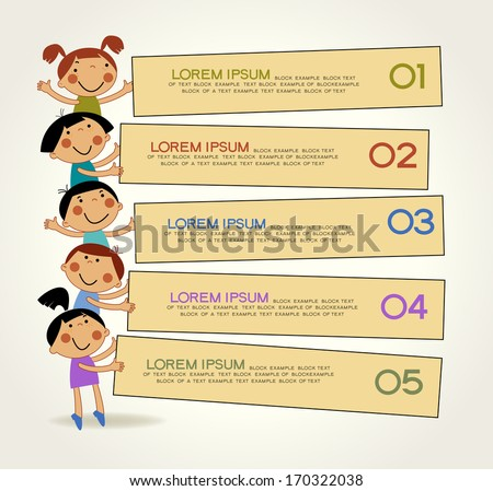 cute childrens labels. stylish children in motion. The file is saved in the version AI10 EPS. This image contains transparency. - stock vector