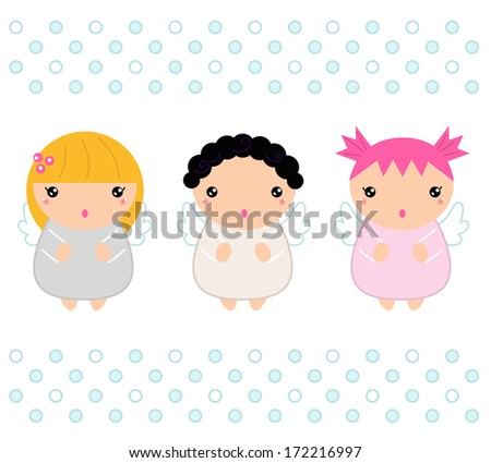 Cute christmas angels isolated on white