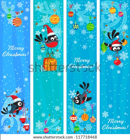 Cute Christmas banners set with birds - stock vector