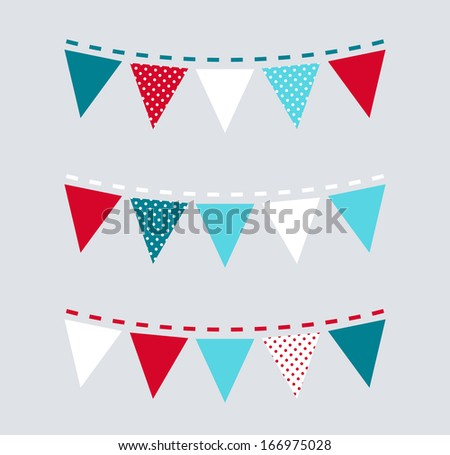 Cute Christmas bunting or flags ( red and blue ) - stock vector