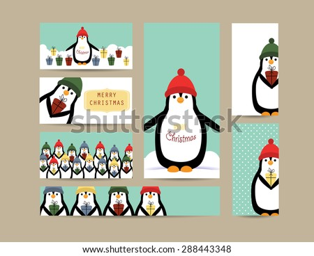 Cute christmas card and banners with penguins - stock vector