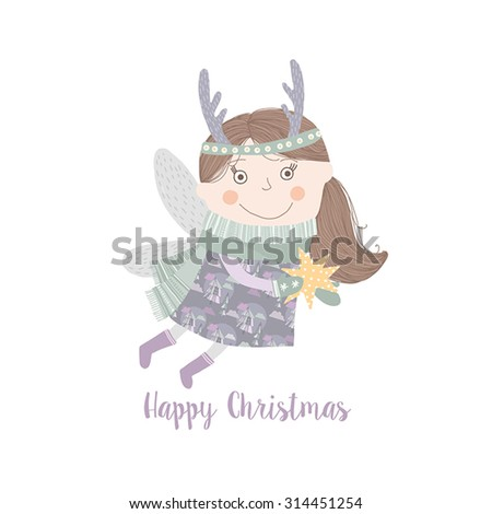 Cute Christmas card in vector. Bright holiday background with happy angel - stock vector
