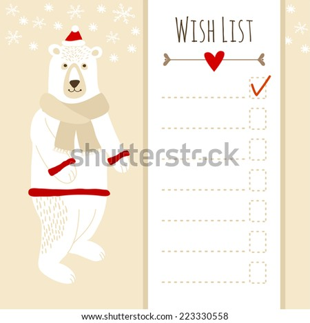 Cute christmas card or baby shower wish list with polar bear, vector illustration background - stock vector