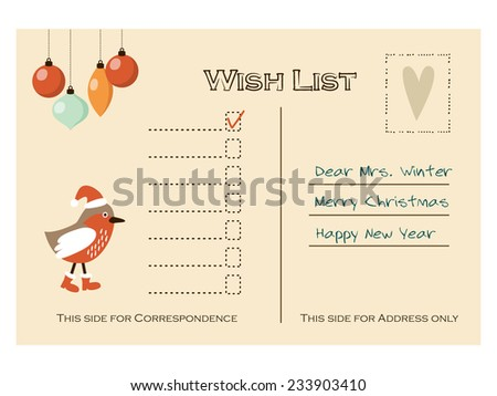 Cute christmas card, wish list with bird and baubles, vector illustration background - stock vector