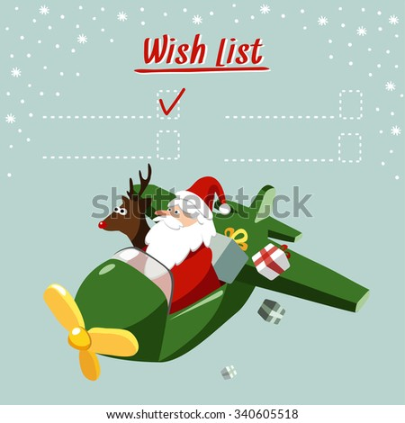 Cute christmas card, wish list with Santa Claus and reindeer flying the plane, delivering gifts, vector illustration background - stock vector