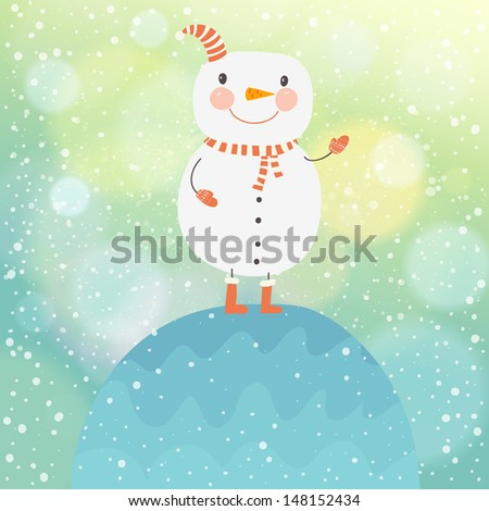 Cute christmas card with funny snowman. Happy new year cartoon postcard with bokeh effect. Winter snow illustration. 2014 - stock vector