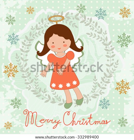Cute Christmas card with happy angel. Vector illustration - stock vector