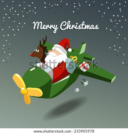 Cute christmas card with santa claus and reindeer flying the plane, vector illustration background - stock vector