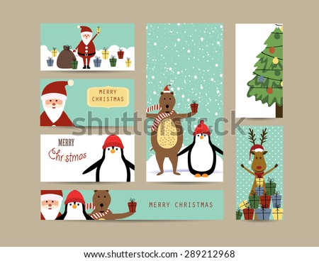 Cute christmas card with Santa, reindeer, bear and penguin - stock vector