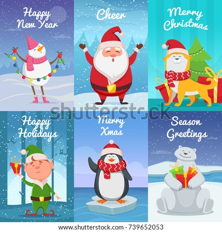 Cute christmas cards funny characters vector stock vector 739652053 cute christmas cards with funny characters vector pictures in cartoon style illustration of christmas m4hsunfo