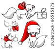 cute christmas cat vector - stock photo