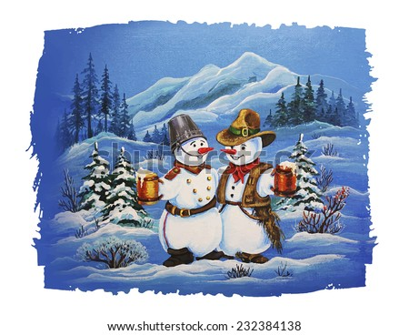 Cute Christmas Characters. Cowboy Snowman and Soldier Snowman Drinking Beer.  Christmas Card. - stock vector