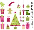 cute christmas collection - stock vector
