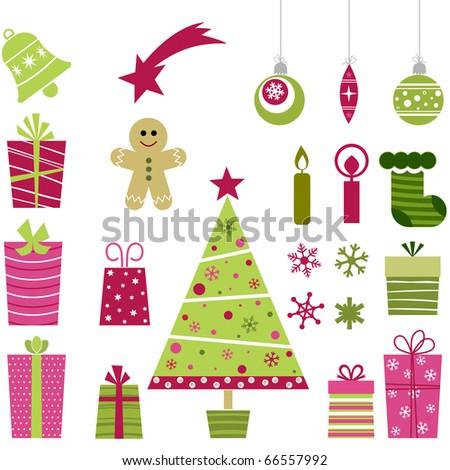cute christmas collection - stock vector