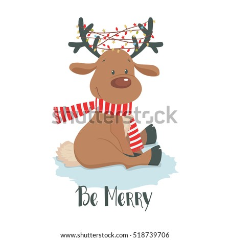 Cute Christmas Deer With Little Bird And Gift Reindeer On A White Background Cartoon