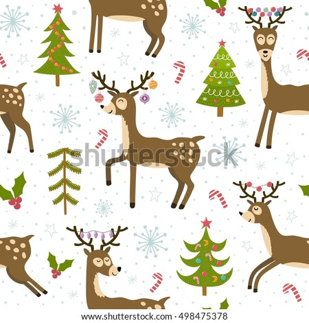 Cute christmas deers seamless pattern. Winter background with funny reindeer. Vector illustration