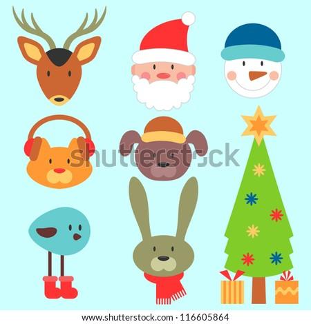 Cute christmas elements set - stock vector