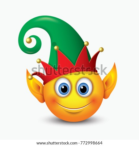 Cute Christmas Elf Santas Helper Emoticon Stock Vector